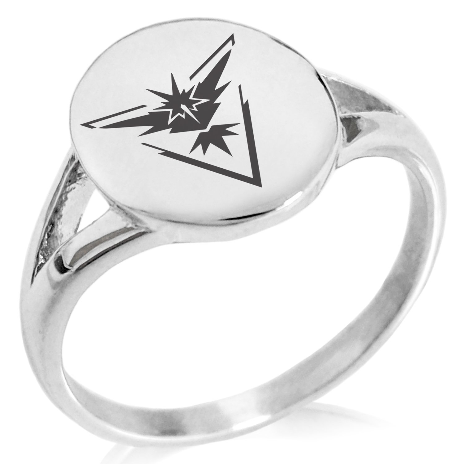 Tioneer Stainless Steel Team Instinct Zapdos Pokemon Minimalist Oval Top Polished Statement Ring, Size 8
