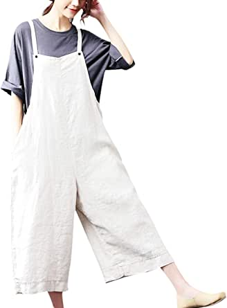 YESNO P21 Women Rompers Cropped Pants Trousers 100% Linen Casual Wide Leg Low Crotch Loose Fit