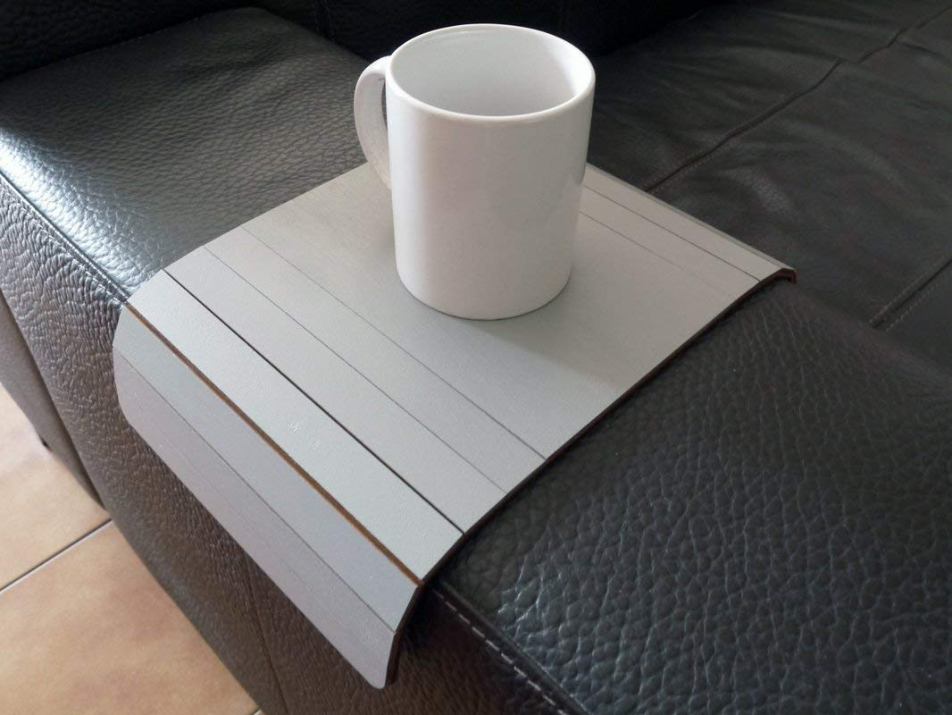 Amazon.com: Wooden Sofa Armrest Table In Many Colors As Stone Grey Small Flexible Over The Couch Side Tables Narrow Folding Dining Slinky Arm Tray Armchair Trays Server Drink Slim Wrap Covers Furniture: