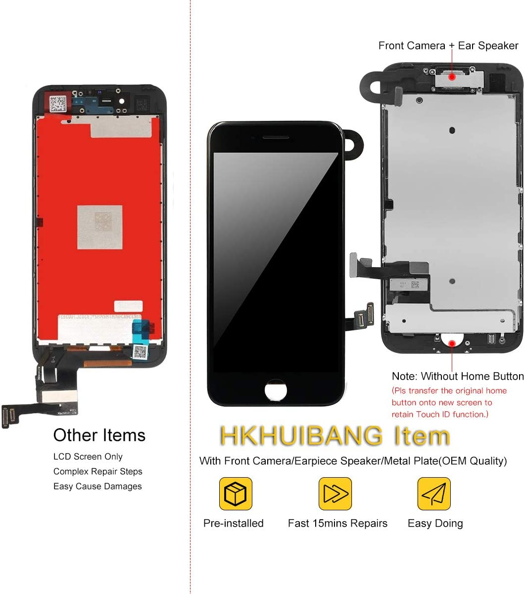 Screen Replacement for iPhone 6S Plus White,H HKHUIBANG 5.5 Pre-Assembled LCD 3D Touch Digitizer Complete Display Full Assembly with OEM Front Camera Proximity Sensor Earpiece Speaker Repair Tool