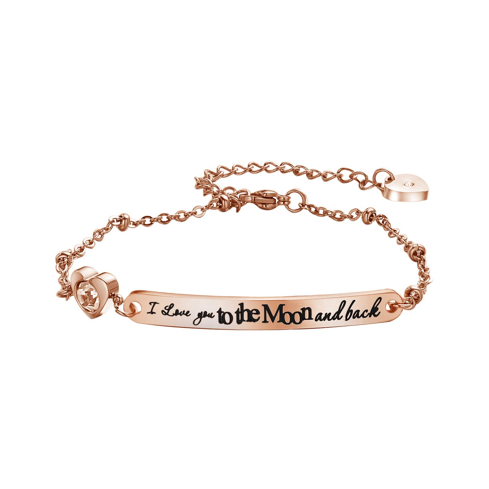 fashion bracelet gifts for mom moon and back bracelet crystal bracelet rose gold jewelry mothers day mom birthday gifts love jewelry engraved bracelet women teen girls christmas n (Moon and back-RG)
