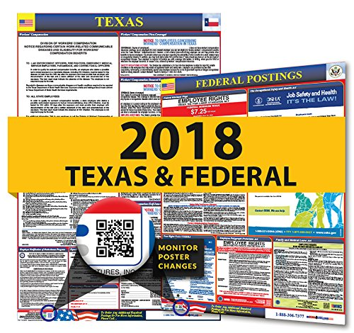 2019 Texas Labor Law Poster - State, Federal, OSHA Compliant