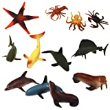 Plastic Kids Toy Model Sea Animal Figures Toy Set of 12pcs Multi-color