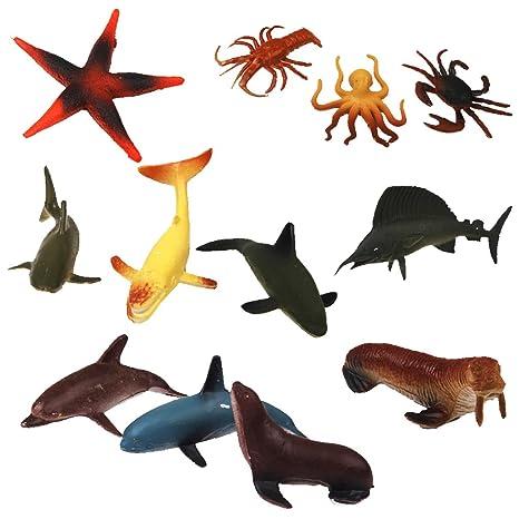 12pcs Animales Marinos De Pvc Plastico Juguetes Modelos Para Ninos