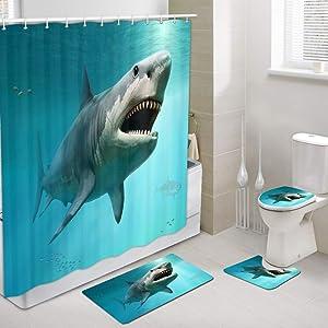 DYNH 3D Shark Ocean Shower Curtains with Rug Set, Sea Animal Megalodon Men Boys Bathroom Accessory, 4 Pcs Set - 1 Polyester Fabric Bath Curtain & 1 Bath Rug & 1 Toilet Mat & 1 Toilet Pad Cover
