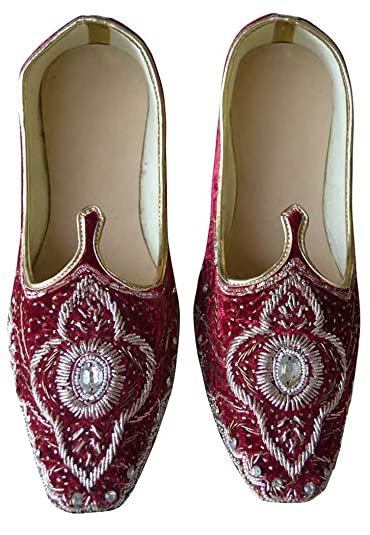 dc99dcf1597 INMONARCH Mens Indian Bridal Shoes Maroon Velvet Wedding Shoes Hand  Embroidered MJ0188S7 7 (M)