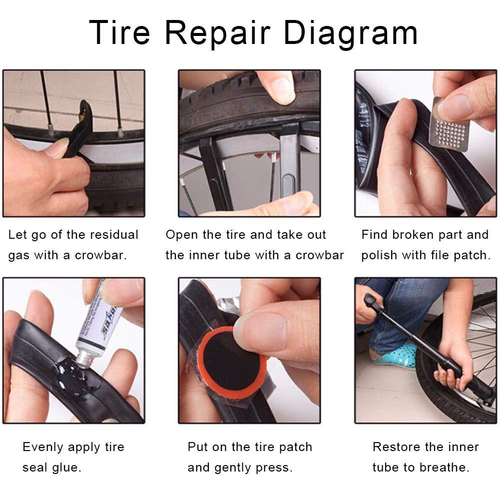14 in 1 Klappwerkzeug Reifenkasten Fahrrad Reparatur Set,Multifunktions Fahrrad Werkzeugsatz Reifenh/äcksler Werkzeugtasche Brechstange Tragbare Fahrradreparatur Werkzeuge mit Mini Luftpumpe