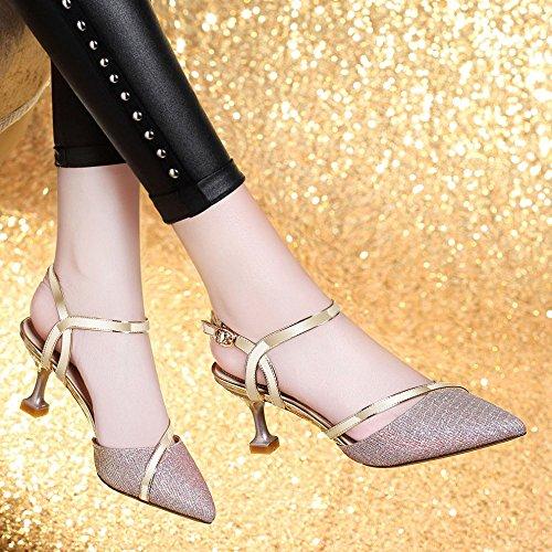 Womens Pointu Toe Slingback Dress Escarpins Talon Kitten Party Office Work Sandales Champagne IsYz9NFS