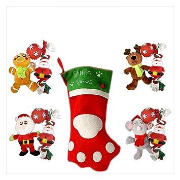 PawsForceTM Deluxe perro Navidad calcetín con cuerda masticar, chirriador y peluche juguetes regalos