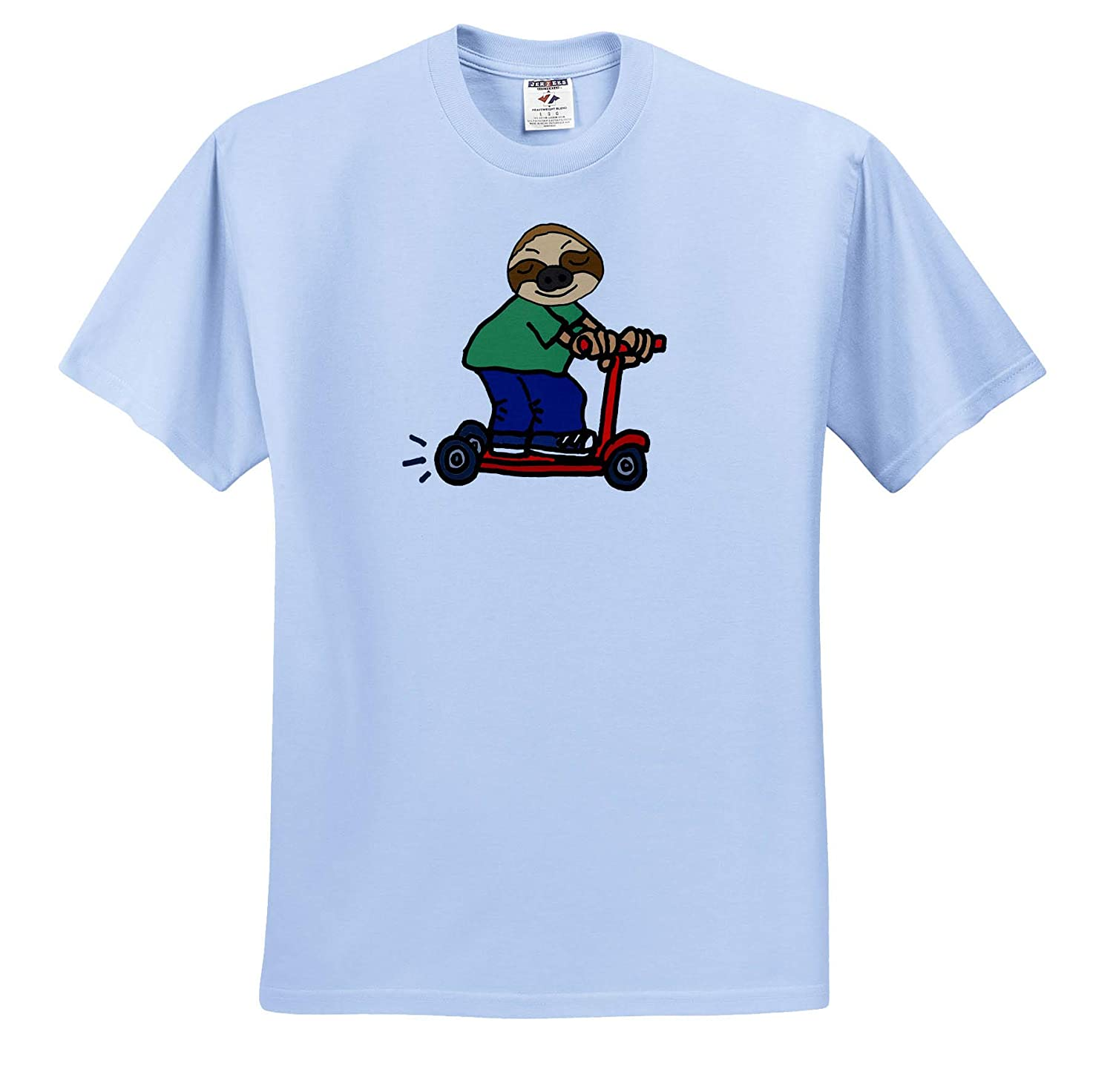 3dRose All Smiles Art at The Beach ts/_317718 Adult T-Shirt XL Funny Cute Sloth Riding Red Electric Scooter Cartoon