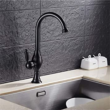 Touch On Bathroom Sink Faucets Professional Kitchen Sink Tap Brass Baking Paint Black Bronze Antique Cold Water Swivel Spout Basin Single Hole Basin Mixer Tap Basin Kitchen Faucet Amazon Com
