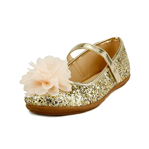 35b8fb00467 Wedding Party Flower Girl s Shoes Glitter Sparkling Chiffon Floral on  Topper 3 Colors (5