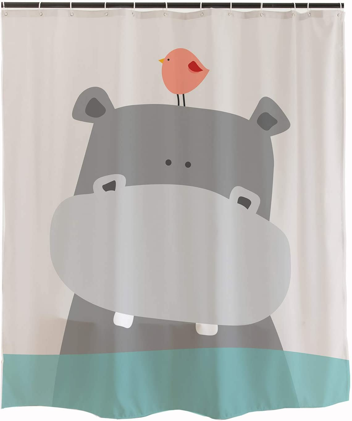 Ofat Home Cute Hippo Kids Shower Curtain 72x72 Inch Shower Curtain Teal White Grey Animal Baby River Horse Bird Ocean Fabric Shower Curtains For Bathroom Sets With Hooks Amazon Ca Home Kitchen