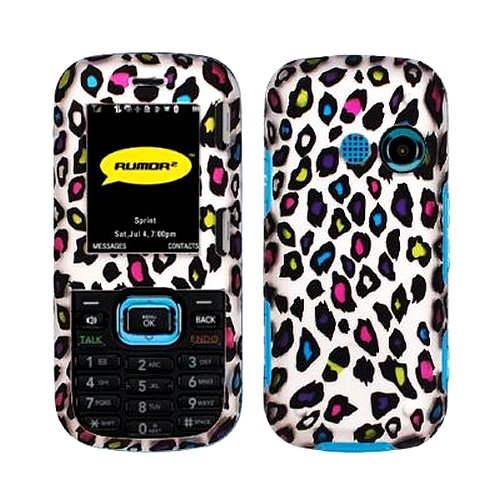 Colorful Leopard Animal Print Rubberized Coating Premium Snap on Protector Faceplate Hard Case for LG Cosmos VN250 Rumor 2 Rumor2 Lx265