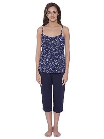 feb796af7a Clovia Women s Cotton Rich Floral Print Top   Capri Set (LS0163A08 Blue S)