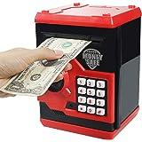 Elemusi Cartoon Electronic Password Mini ATM Piggy Bank Cash Coin Can Auto Scroll Paper Money Saving Box, for Children Kids (Red)
