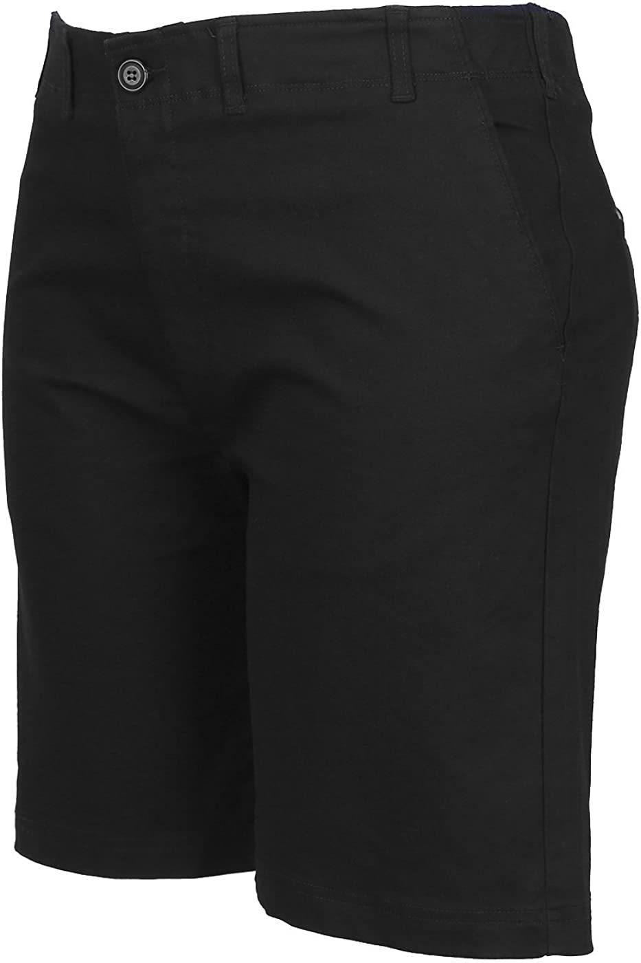 HDE Mens Big and Tall Shorts Comfort Waist Classic Fit Twill Cotton Blend Chino Black, 46