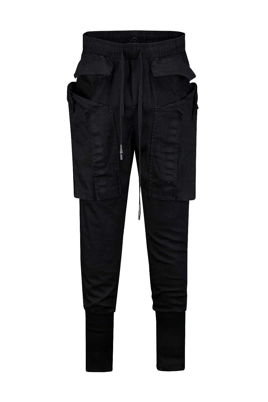 c06f8a1033 ByTheR Men's Techwear Big Cargo Pockets Chic Black Spandex Street Jogger  Pants at Amazon Men's Clothing store:
