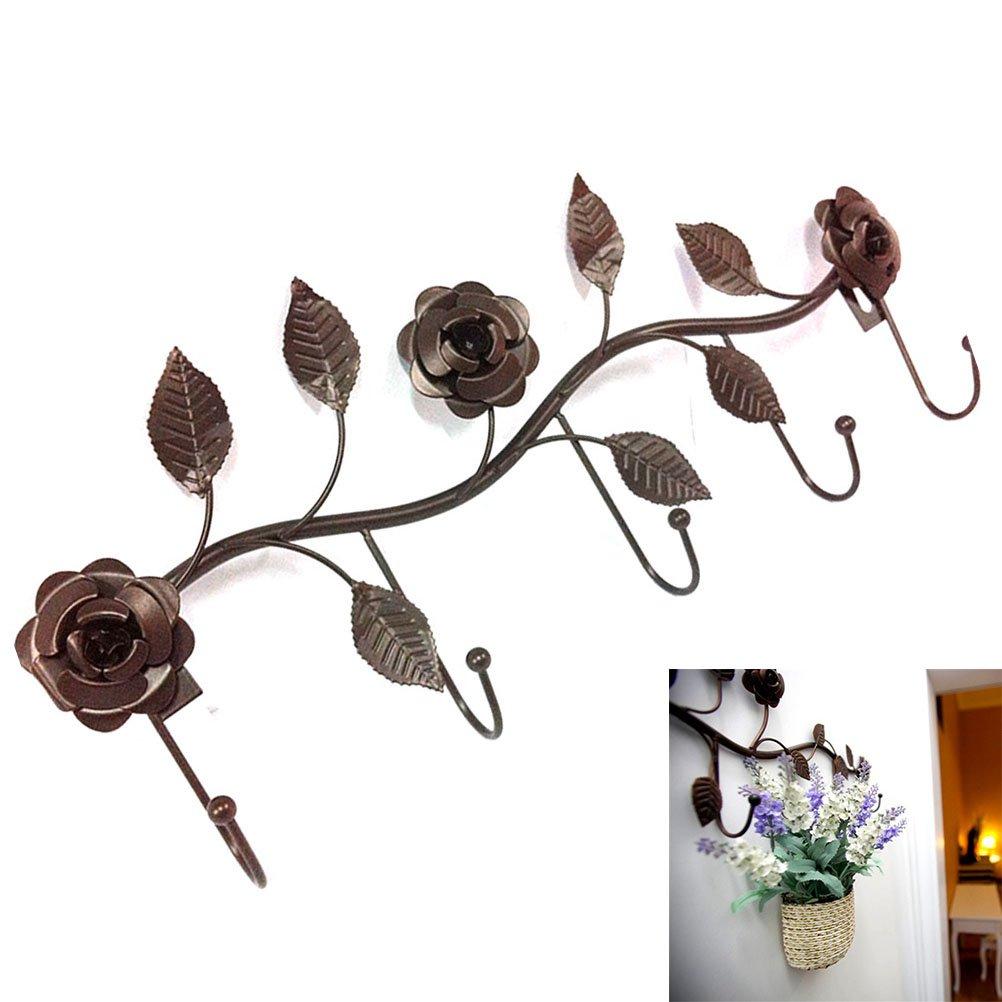Bronce OUNONA Montaje en pared Gancho Rack con 5 ganchos sobre la percha de la puerta para ropa de toalla Ropa Stroage Sombrero Bolsa Rack Rose en forma de riel de hierro