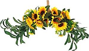 JUDYME Sunflower Artificial Flower Swag,23 Inch Floral Swags with Olive Green Leaves Wreath and Silk Ribbon for Front Door Mirror Wall Wedding Arch Home Decoration