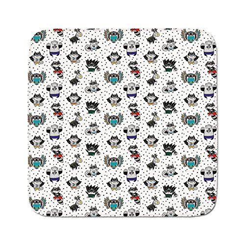 Cozy Seat Protector Pads Cushion Area Rug,Superhero,Animal Owl Dear Fox Cat Penguin Raccoon Bear in Superhero Costumes Print,White Seal Brown,Easy to Use on Any -
