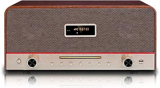 Wooden Desktop Radio, Living Room Bedroom Sound System Bluetooth Speaker Radio DVD/CD, Tuning Band FM Stereo Preset Radio Station, Microphone Input