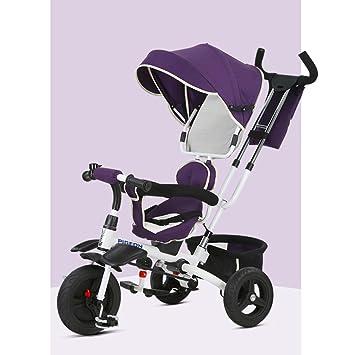 Bicicleta plegable para niños, carriola, triciclo, 1 a 6 años, varilla de empuje desmontable, toldo, dirección delantera y trasera: Amazon.es: Juguetes y ...