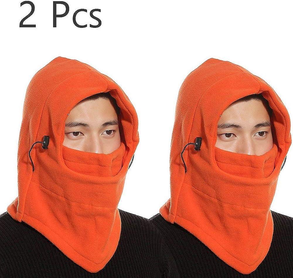 Balaclava Outdoor Sports Mask Windproof Face Mask 2 Pack Ski Face Mask Hood Neck Warmer Gaiter with Adjustable Elastic String Full Face Mask Cover Hat Cap Fleece Ski Mask Neck Warmer Hood Winter Hats