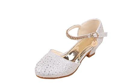 ac3efe1000ddc OHmais Enfants Filles Chaussure cérémonie Ballerines à Bride Fête Demoiselle  d'honneur Mariage Escarpin à