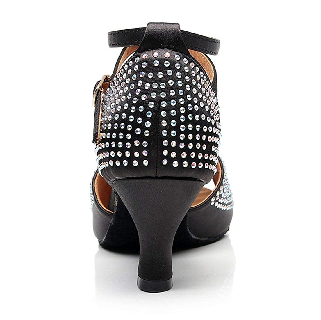 Qiusa Damen Sparkle Crystalds Studded Med Ferse Ferse Ferse Schwarz Tanzschuhe Hochzeit Sandalen UK 2 (Farbe   - Größe   -) 239a80