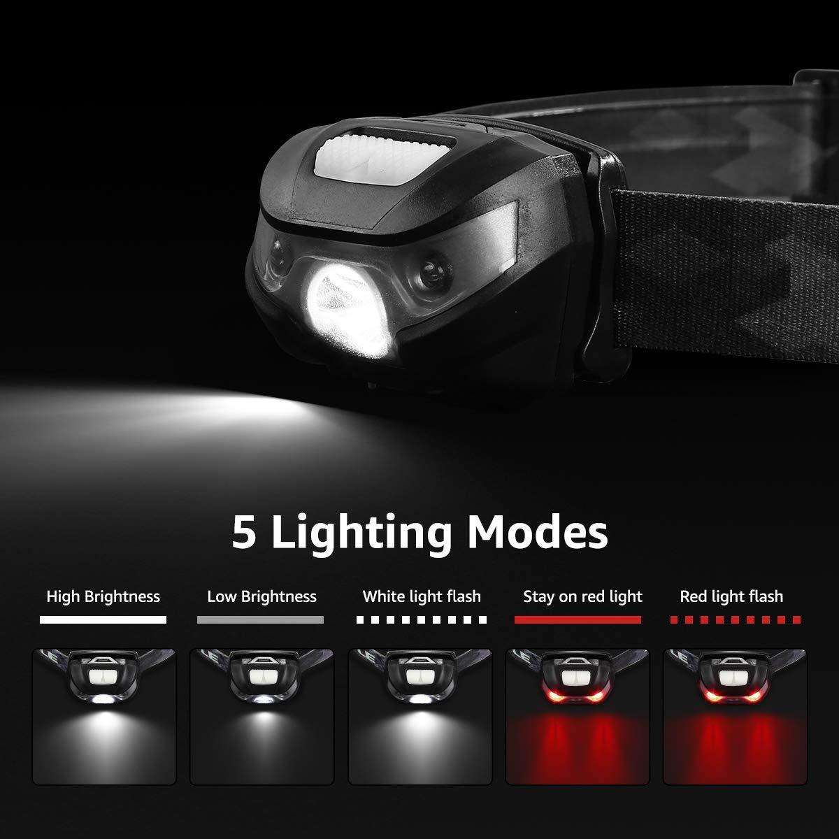 Running con Luz Roja Deporte Nocturno,Correr, 5 Modos De Luz Ligera El/ástica SHISOU Linterna Frontal USB Recargable para Ciclismo Clase De Eficiencia Energ/ética A+