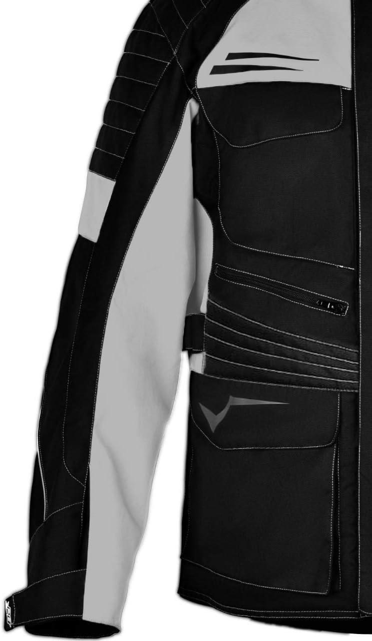 S EU 46-48 , Argento Nero Jet Giacca Giubbotto Moto Uomo Impermiabile Con larmatura Tessile Titan