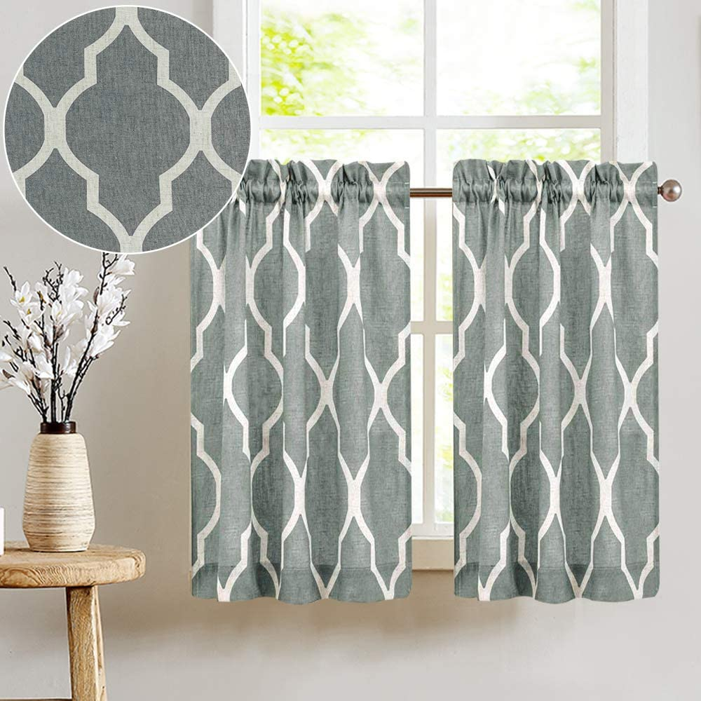 JINCHAN Short Kitchen Window Curtains Soft Grey Moroccan Tile Print Tiers  12 inches Long Linen Textured Look Lattice Half Window Covering for  Bathroom ...