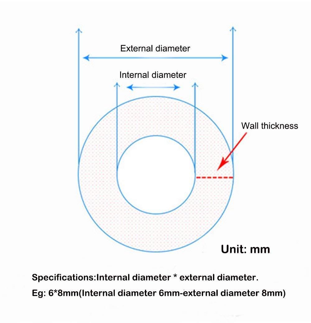 1 m/ètre//2 m/ètres//5 m/ètres//10 m/ètres//50 m/ètres//100 m/ètres. Diam/ètres int/érieurs et ext/érieurs et /épaisseur de paroi flexible Tuyau en silicone TEN-HIGH