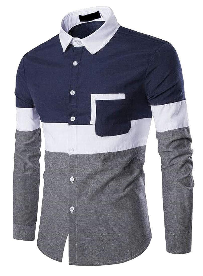 WSPLYSPJY Mens Long Sleeve Casual Slim Color Block Button Down Dress Shirt
