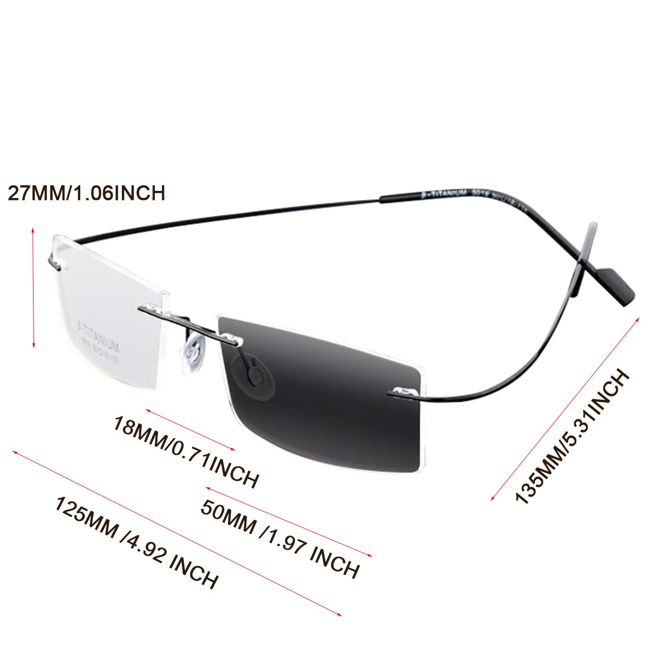 34d8727b534 Amazon.com  Unisex Titanium Frameless Progressive Power Photochromic Reading  Glasses Multifocal Presbyopia Rimless Sunglasses (Black