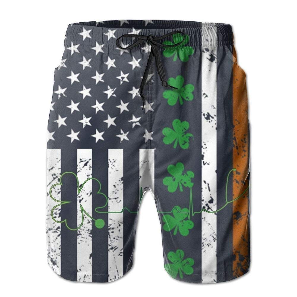 SINOVAL Mens Beach Shorts Swim Pants Heartbeat Clover Irish ST Patricks Day Board Shorts with Pockets