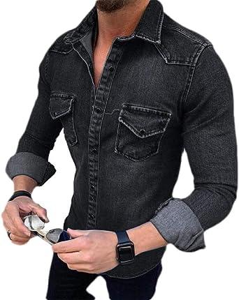 dahuo - Camisa de Vaquero Informal para Hombre, Manga Larga, Camisa de Vestir con Botones Negro Negro (M: Amazon.es: Ropa y accesorios