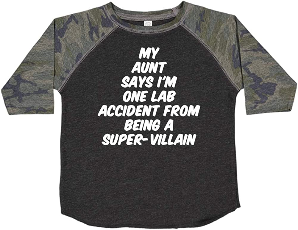Toddler//Kids Raglan T-Shirt My Aunt Says Im One Lab Accident from Being A Super-Villain