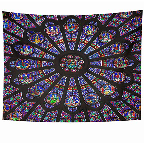 AlliuCoo Wall Tapestries 80 x 60 Inches Paris December North Rose Window Notre Dame Cathedral Dates from 1250 is Also Meters Home Decor Wall Hanging Tapestry Living Room Dorm