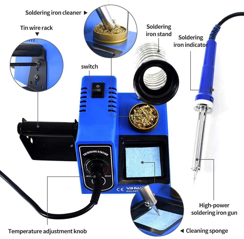 Ersatzspitzen + L/ötzinn Fasttobuy L/ötstation 60W L/ötkolben Set Regelbar Profi,Temperatur Einstellbar 200~530 ℃,L/ötset f/ür Schule Labor Hobbyl/öten
