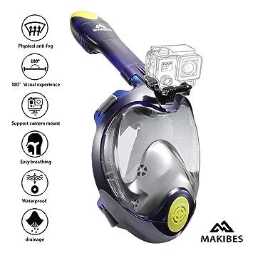 Máscara de Buceo, Makibes Snorkel Máscara con 180 Grados de Vision, Snorkel Máscara Plegable