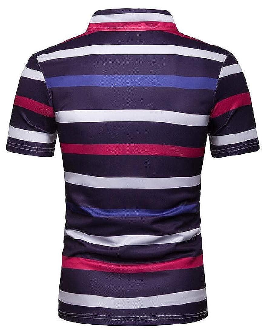 Alion Mens Short Sleeve Stripe Contrast Color Polo T Shirts