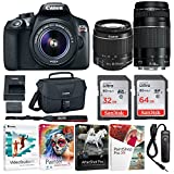 Canon EOS Rebel T6 Digital Camera: 18 Megapixel 1080p HD Video DSLR Bundle With 18-55mm & 75-300mm Lenses 96GB (64 & 32GB SD Cards) Software Pack & Bag - Professional Vlogging Sports & Action Cameras