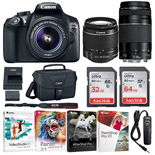Canon EOS Rebel T6 Digital SLR Camera with 18-55mm EF-S f/3.5-5.6 IS II and EF 75-300mm f/4-5.6 III Lenses with Deluxe Software Bundle and 90GB (64GB + 32GB Memory Cards)