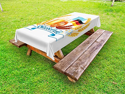 Lunarable Oktoberfest Outdoor Tablecloth, Oktoberfest Celebration Design with Sausage Drink Flags Wheat Stems Banner, Decorative Washable Picnic Table Cloth, 58 X 120 inches, Yellow Blue