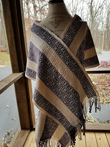 Purple and White Banded Handwoven Women's Shawl by Ephods and Pomegranates Handwovens