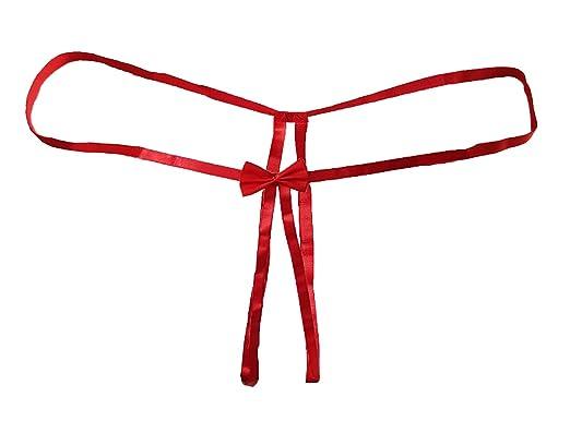 tanga abierta provocativa con un hermoso lazo de satén rojo o negro. Tamaño 36-46 Por Aimerfeel: Amazon.es: Ropa y accesorios