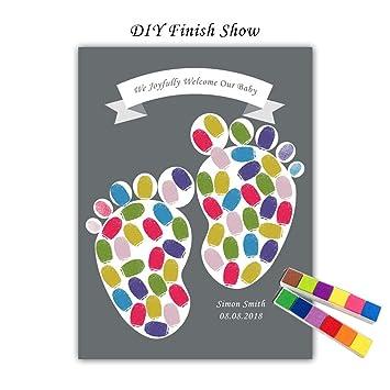 Mignon Footprints Nom Personnalise Date Livre D Or Bricolage Bienvenue Bebe Fingerprint Signature Sign Book Pour Baby Shower Bapteme Party Decor No