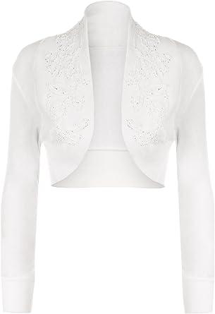 Cardigan court The Celebrity Fashion en coton, manches longues, de style  boléro à perles 20427bce1c4d